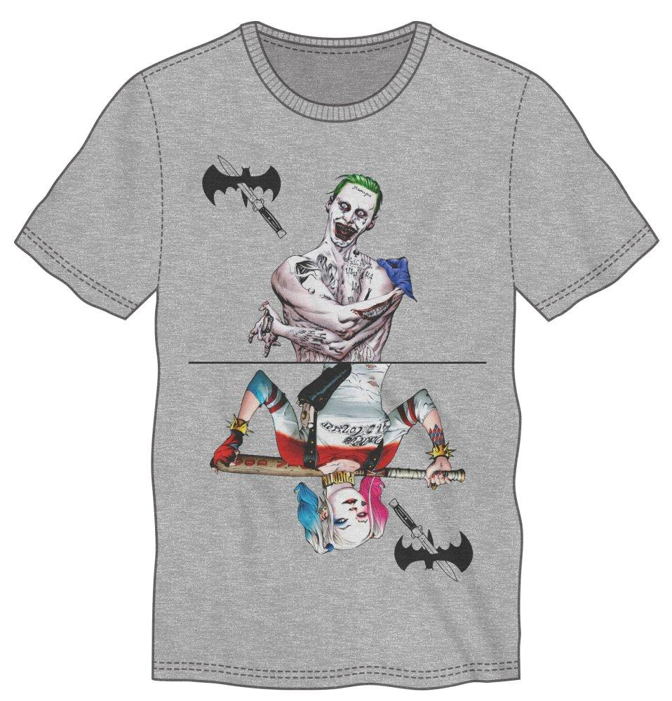 Suicide Squad Joker And Harley Quinn Men's Gray T-Shirt