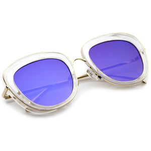 Women's Transparent Mirrored Lens Cat Eye Sunglasses A775