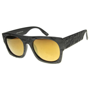 Unique Textured Square Flat Top Sunglasses 9866