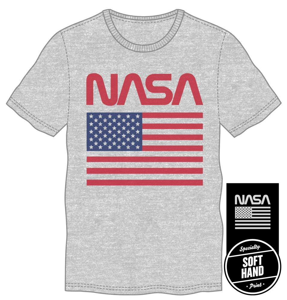 American Flag NASA Gray Men's Specialty Hand Print Tee Shirt T-Shirt