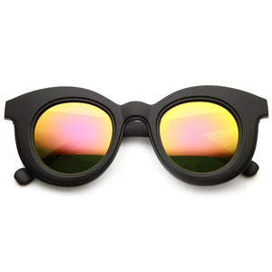 Womens Round Cat Eye Mirrored Lens Matte Black Sunglasses