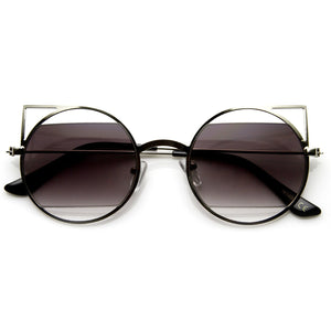 Women's Round Metal Laser Cut Cat Eye Sunglasses