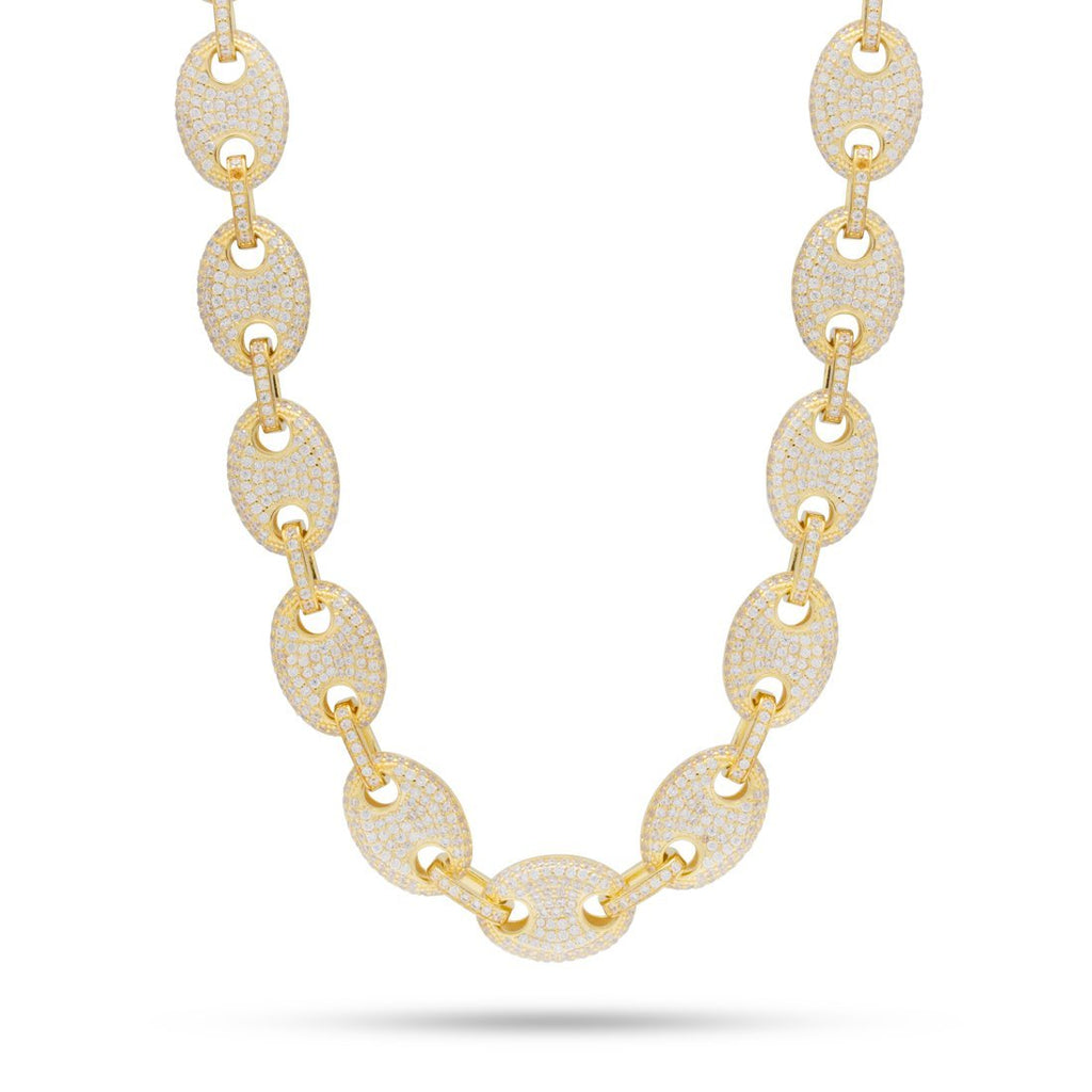 15MM 14K Gold CZ G-Link Chain