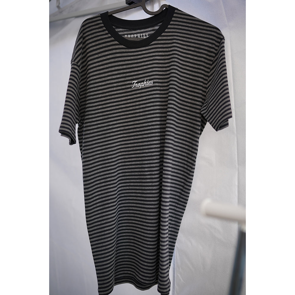 Trophies Cursive Striped Tee - Black/Grey