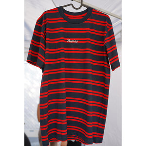 Trophies Cursive Striped Tee - Red/Navy