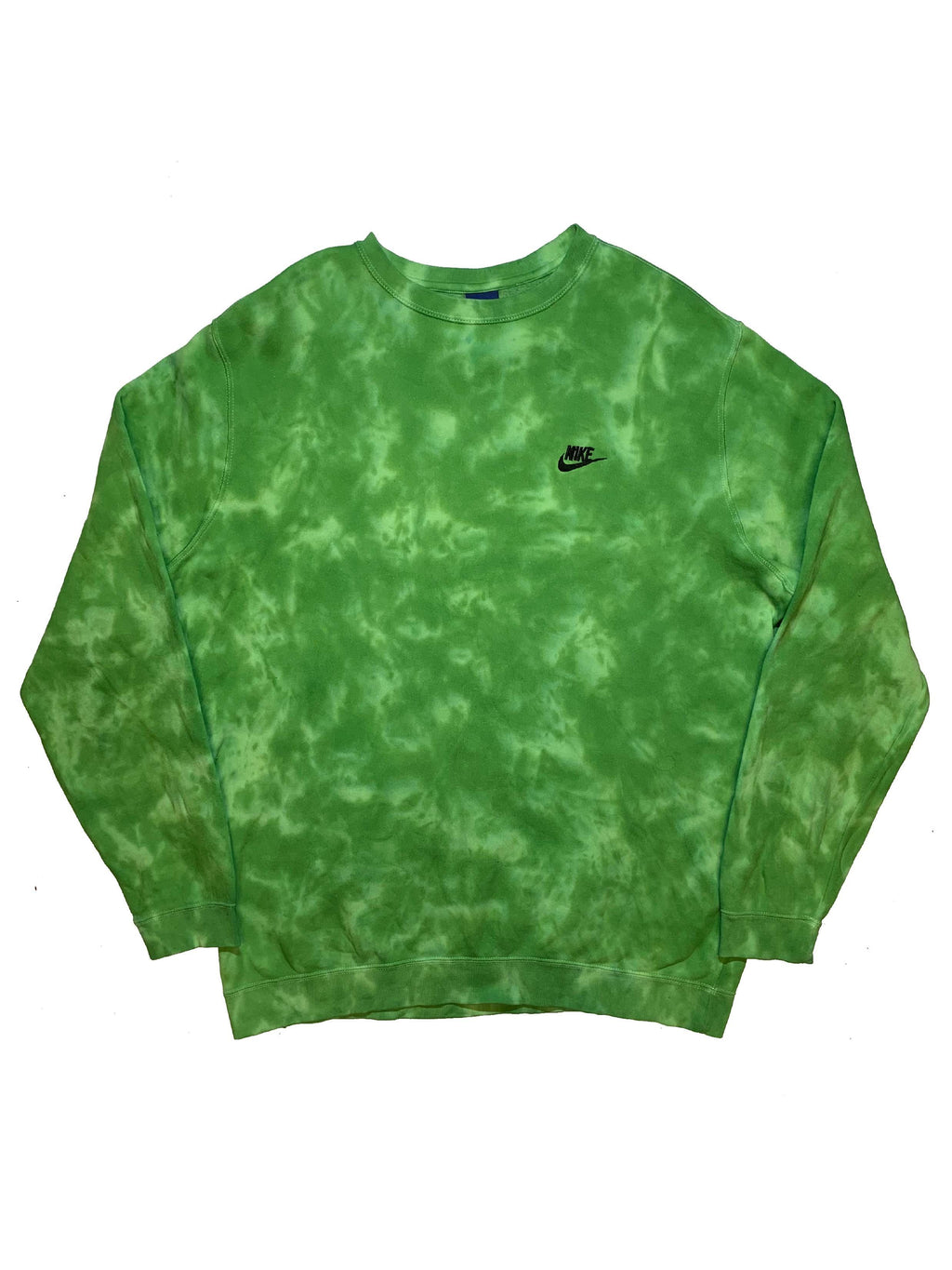 "Nike X Jeffersons Custom Tonal Tie Dye Washed Crewneck ""SLIME GREEN"""