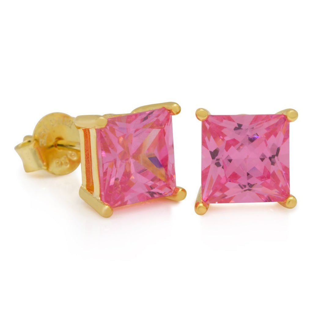 14K Gold Pink Stud Princess Earrings