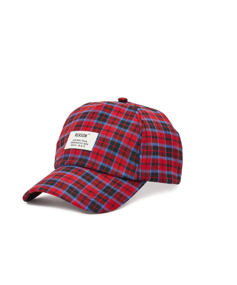 CHECK DAD CAP - RED/BLUE