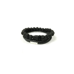 Skull Elite Bracelet Set // Lava Rock