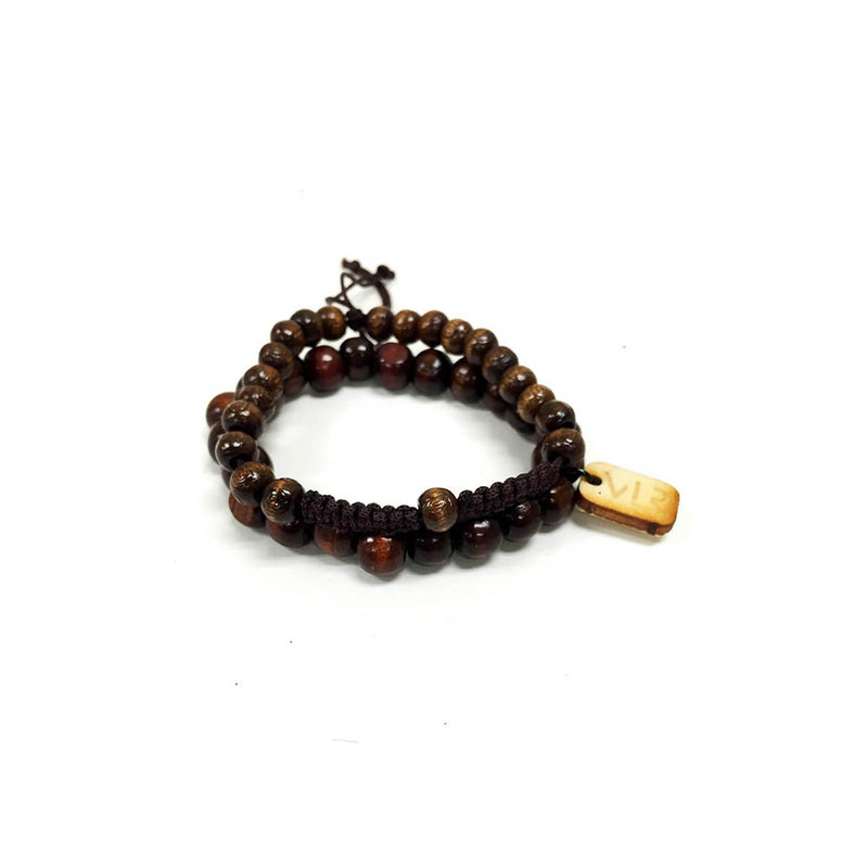 Dark brown wood and rosary