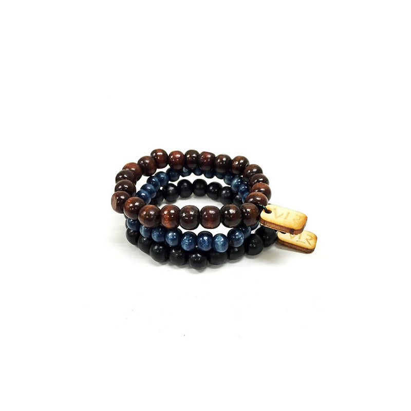 Black brown navy wood 3 pack