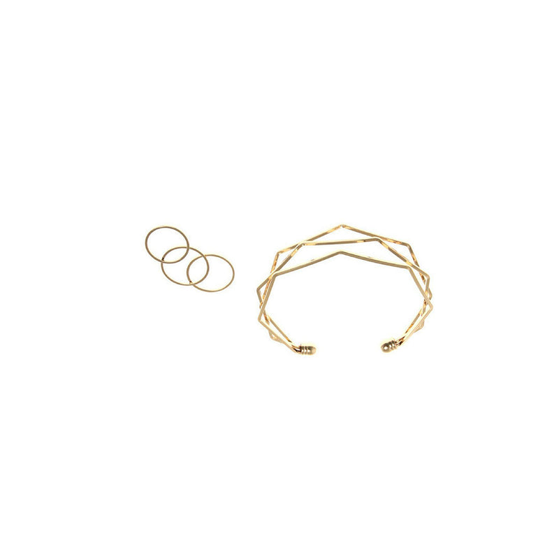 Geometric Cuff Bracelet and Stackable Ring Set