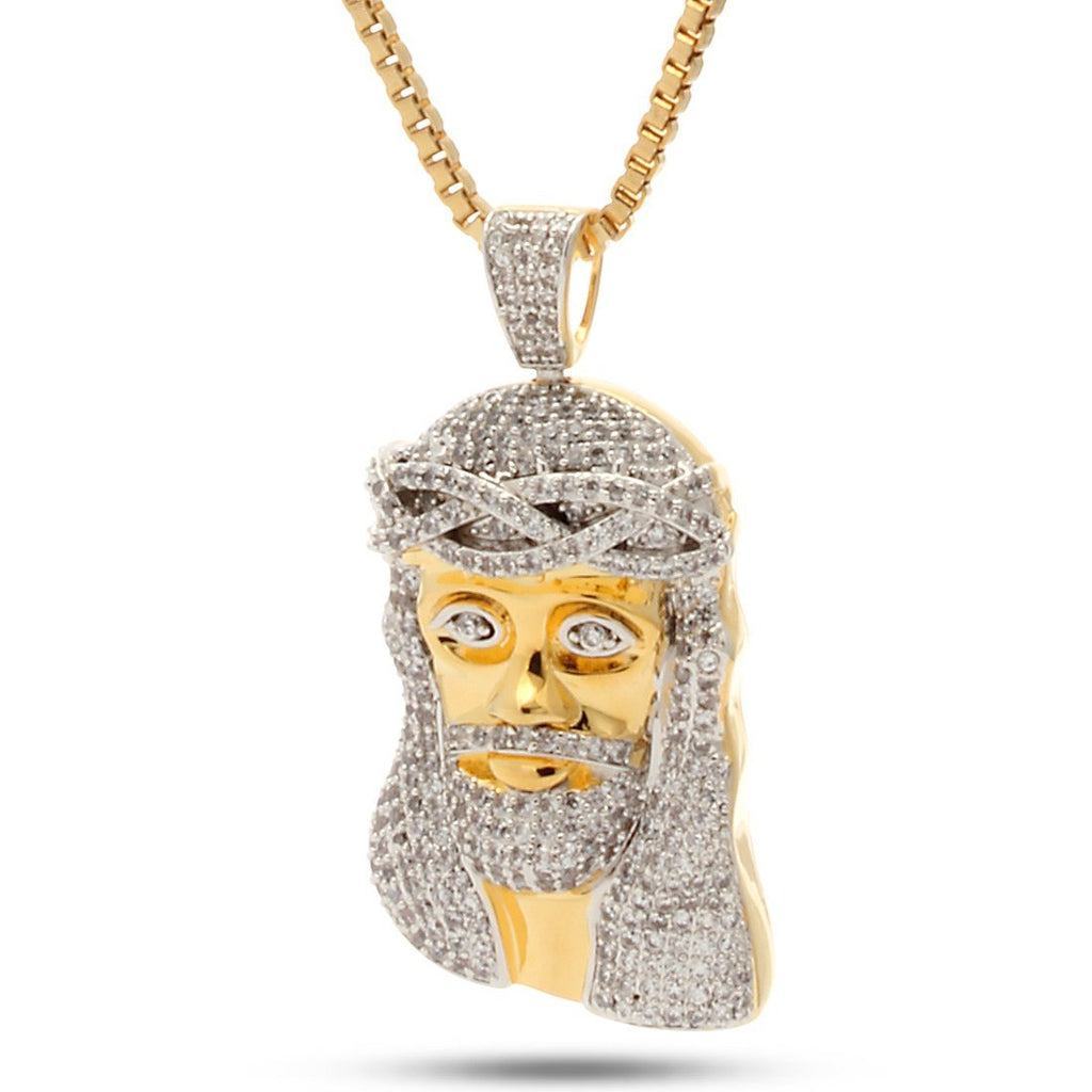 King Ice 14K Gold Jesus Necklace