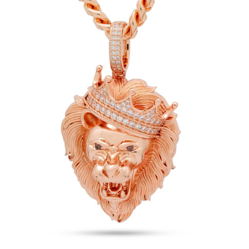 The Large Rose Gold Roaring Lion CZ Necklace