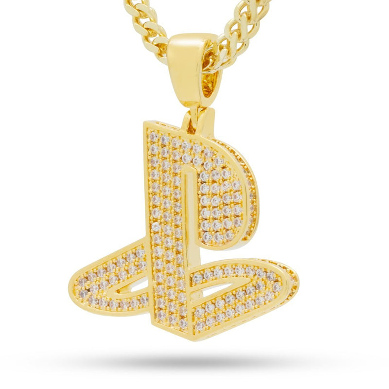 Inspired by PlayStation® - 14K Gold Iced Out Classic PS Logo Necklace