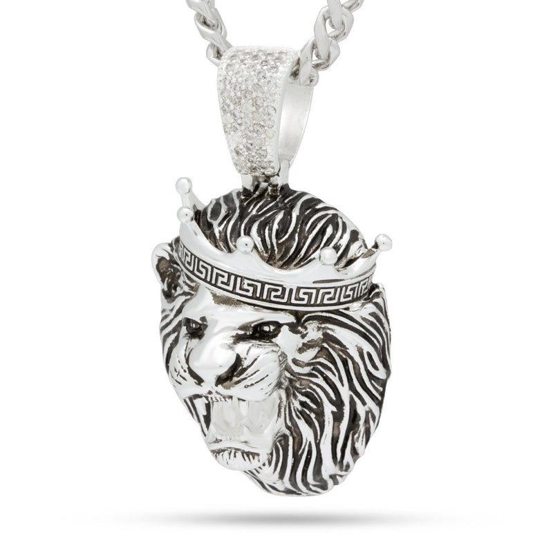 Antique White Gold Roaring Lion Necklace