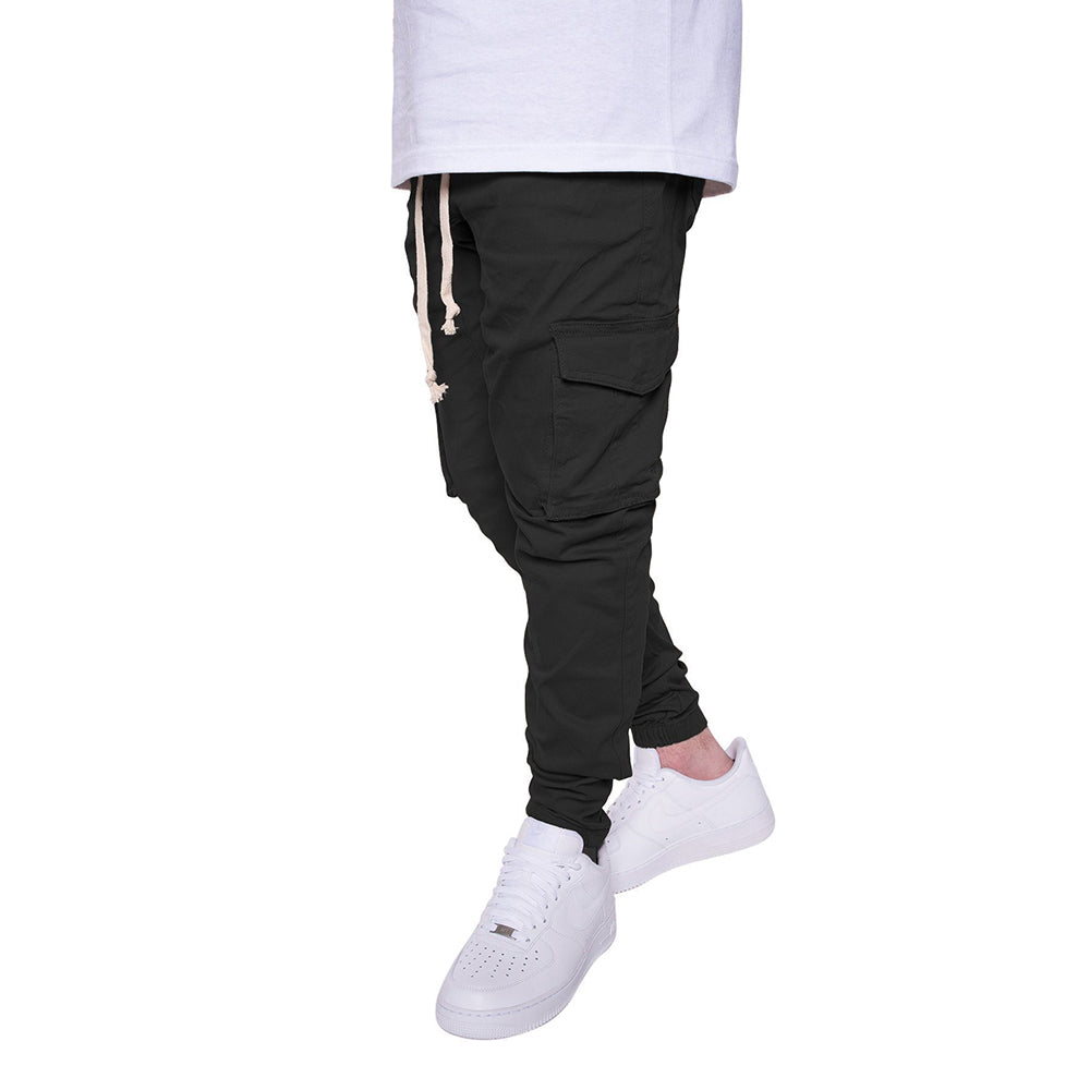 Cargo Twill Joggers in Black