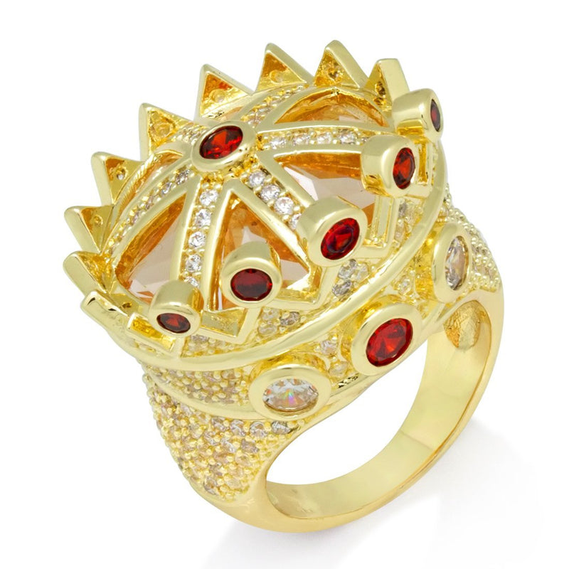 King Ice 14K Gold CZ Crown Ring