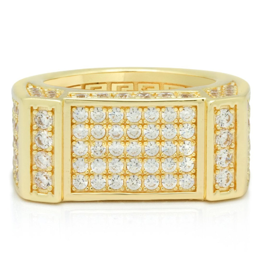 14K Gold Men's Rectangle CZ Ring