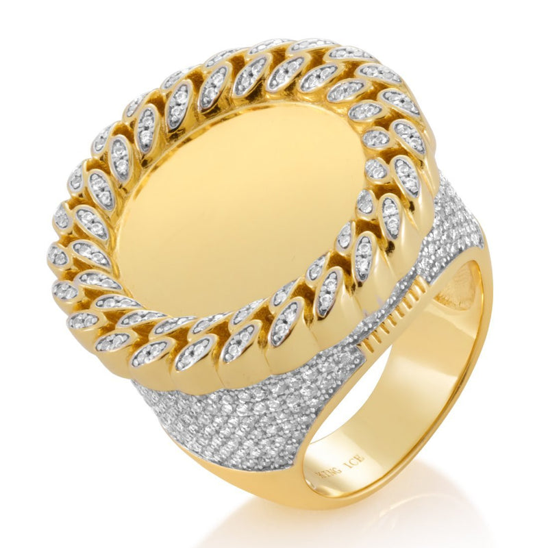 The 14K Gold Cuban Curb Medallion Ring