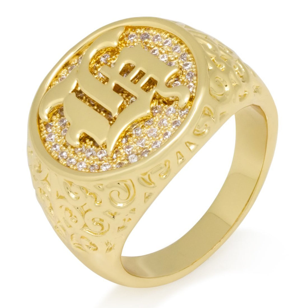 "14K Gold Old English Letter ""H"" Ring"