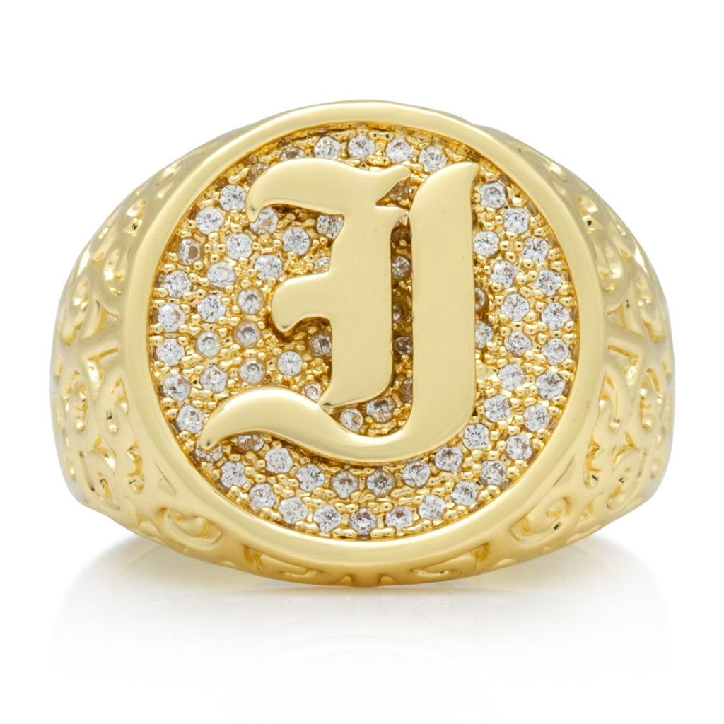 "14K Gold Old English Letter ""I"" Ring"