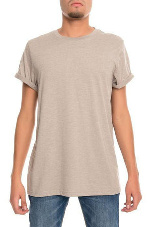 Rolled Cuff Jersey Tee (Heather Grey)