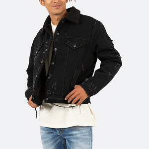 Sherpa Denim Trucker - Black