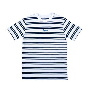 Trophies Cursive Striped Tee - White/Navy