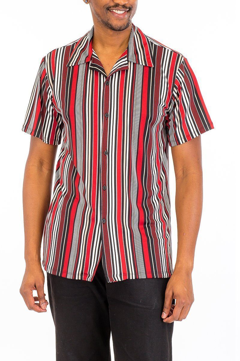 Vertical Stripe Button Up - Red