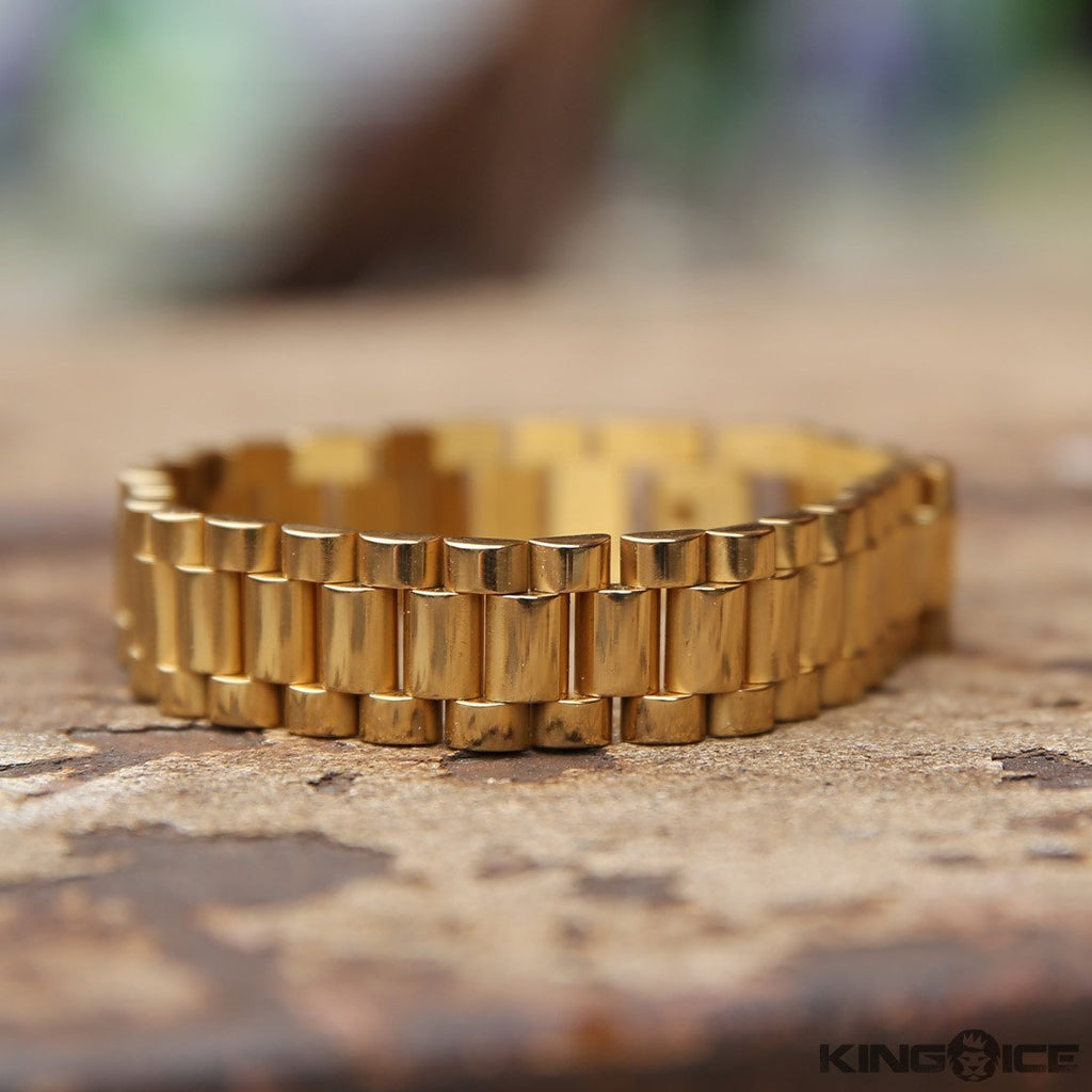 15mm Stainless Steel Gold Rolex Link Bracelet