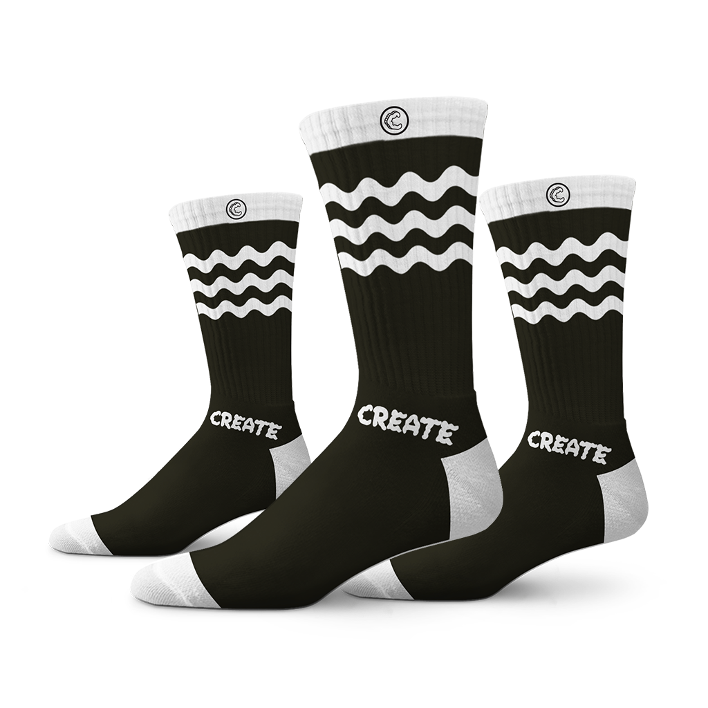 Wobble Socks 2 - 3 Pack (Black)