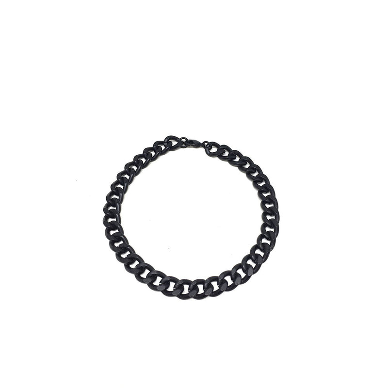 Thick Black Curb Chain Bracelet
