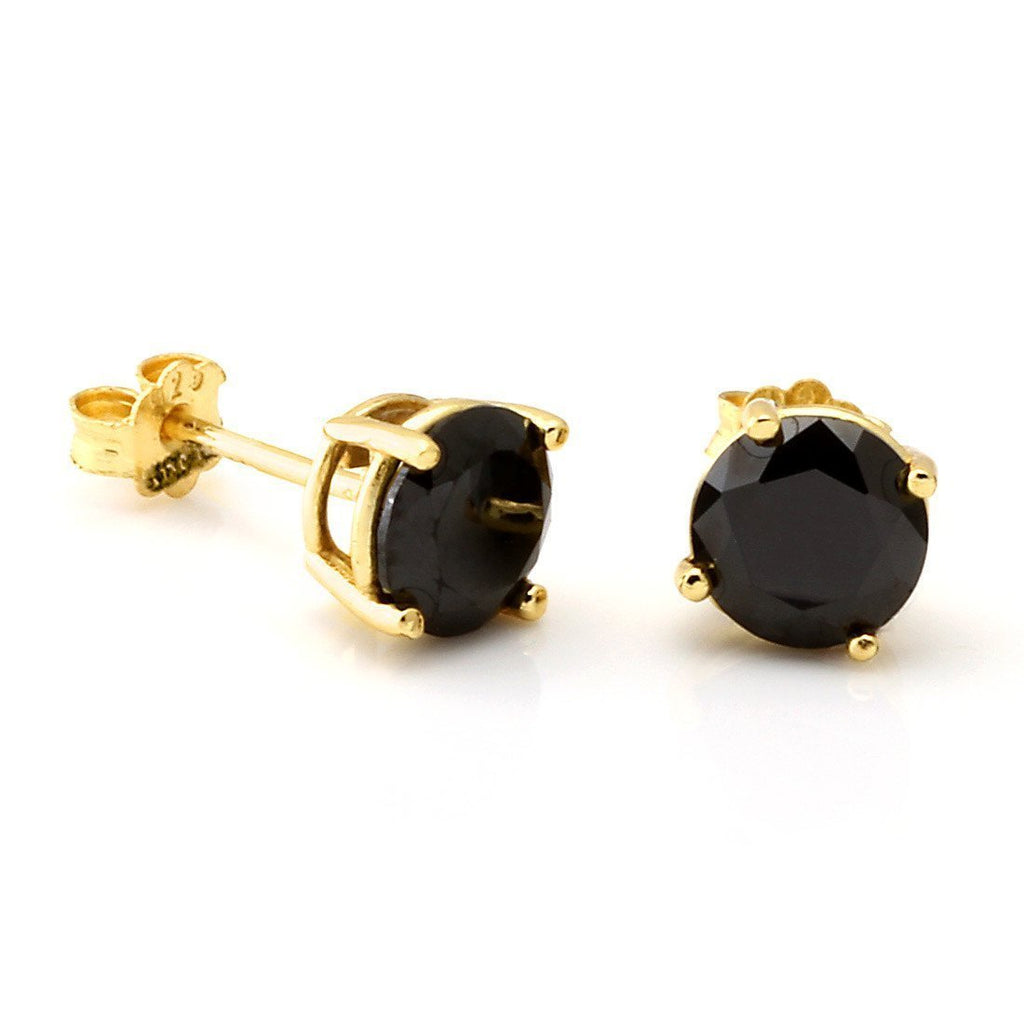 The .925 Sterling Silver Round Onyx Earrings