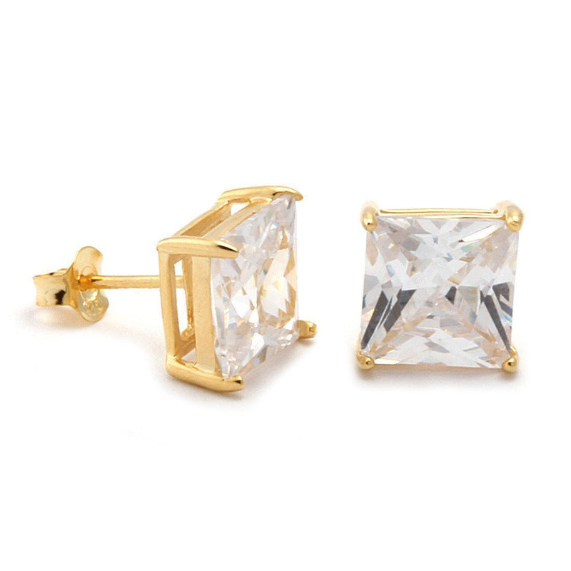 14K Gold Princess Brilliant .925 Sterling Silver Stud Earrings
