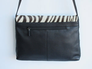 Zebra Print 100% Genuine Leather Handbag w. Hair-on