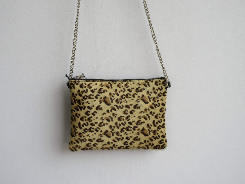 100% Genuine Leather Handbag Cheetah Print w. Chain Handle