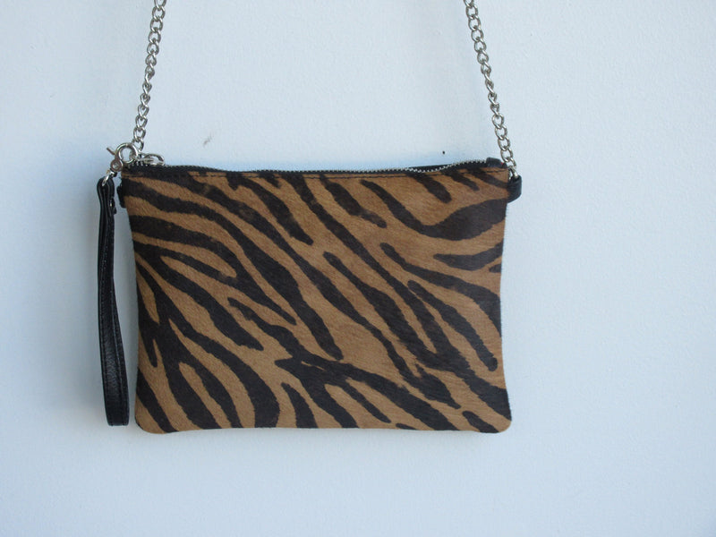 100% Genuine Leather Handbag Zebra Print w. Chain Handle