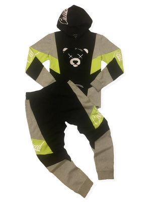 Civilized Sweatsuit - Bear - Black And Lime