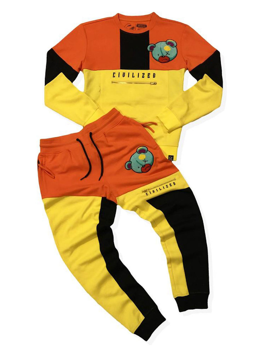 Civilized Sweatsuit - Color-blocked Bear - Yellow And Orange