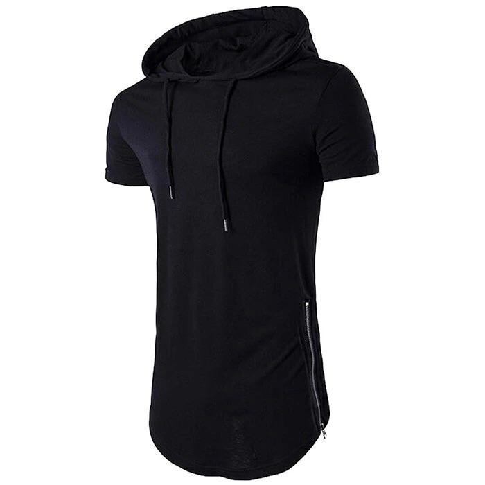 Hooded Tee with Side Zipper