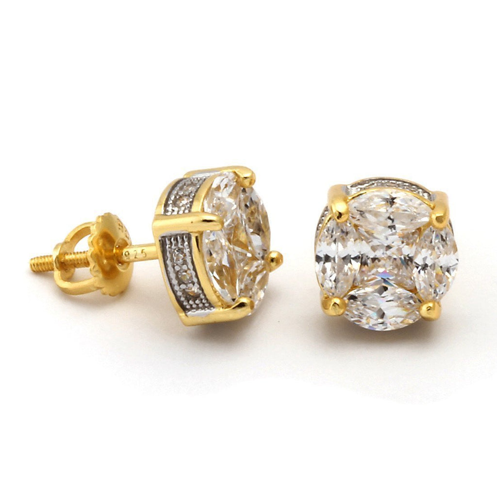 The 14K Gold .925 Sterling Silver Button Earrings