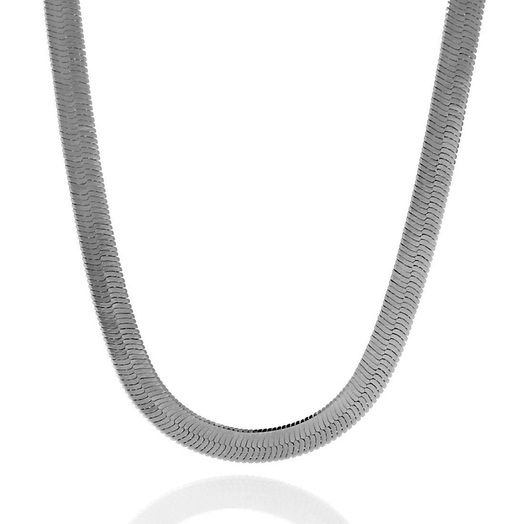 8mm, White Gold Thin Herringbone Chain
