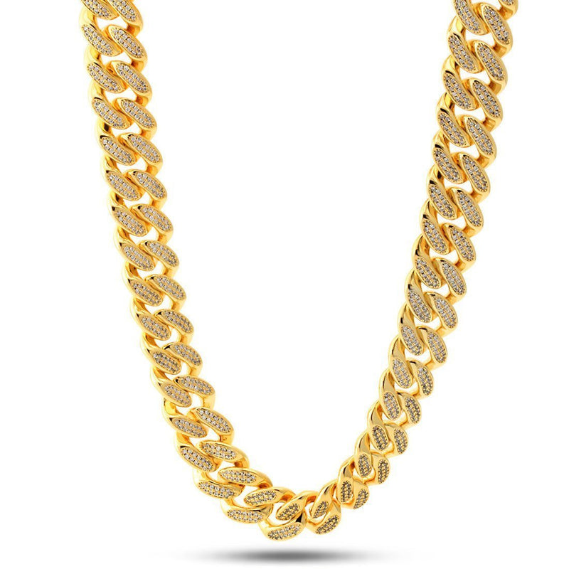 14K Gold 15mm Flooded Miami Cuban Curb Chain