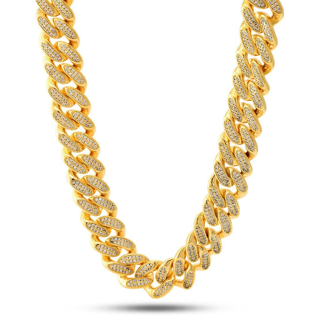 14K Gold 18mm Flooded Miami Cuban Curb Chain