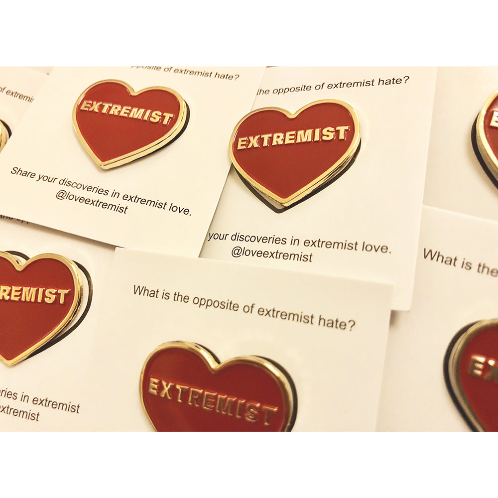 2 Love Extremist Pins - Red and Gold