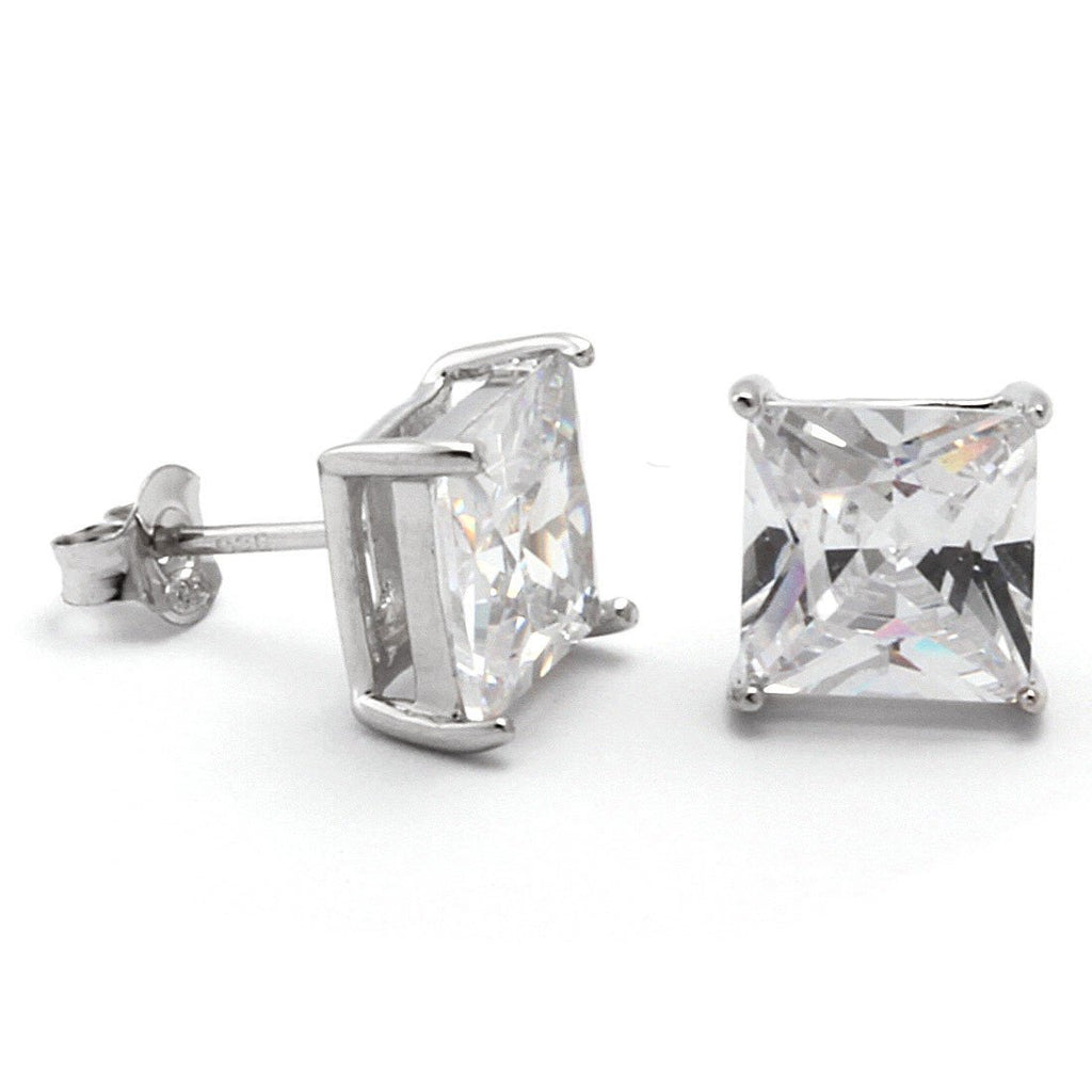 White Gold .925 Sterling Silver Princess Cut Earrings