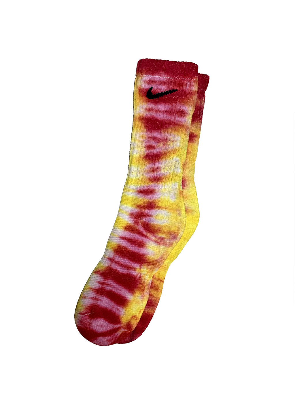 Fall19 Custom Tie Dye Nike Socks - Red & Yellow