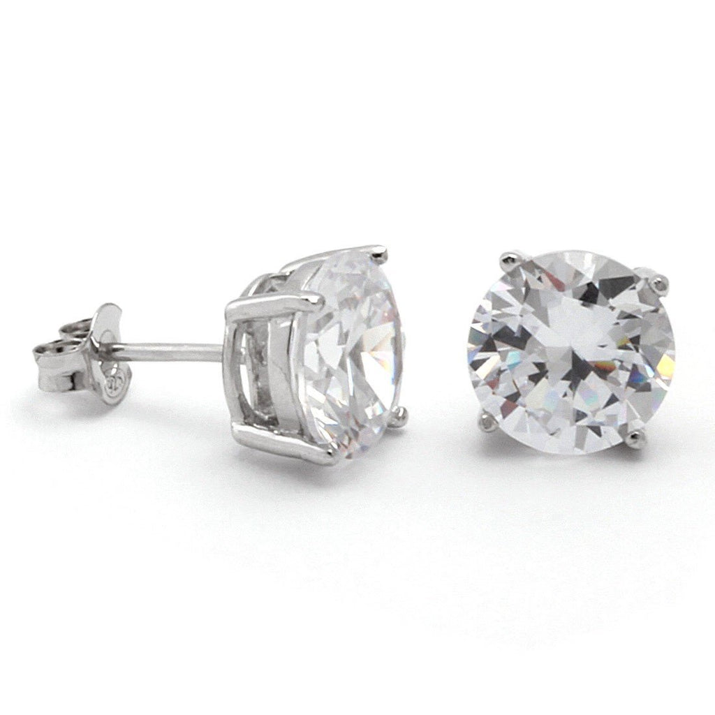 .925 Sterling Silver Round Stud Earrings