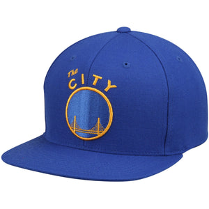 NBA Mitchell & Ness The City Snapback Cap in Blue Golden State Warriors